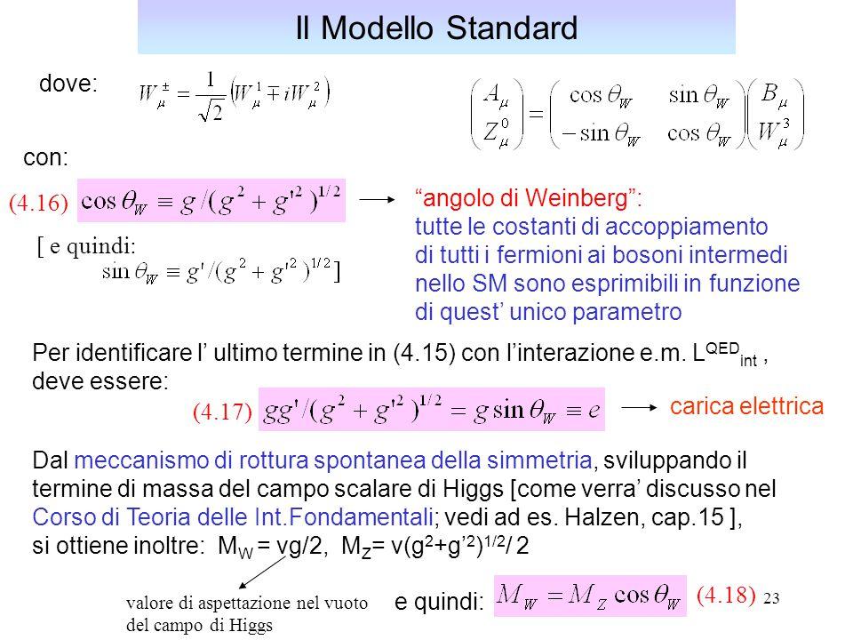 """23 Per identificare l' ultimo termine in (4.15) con l'interazione e.m. L QED int, deve essere: Il Modello Standard """"angolo di Weinberg"""": tutte le cost"""