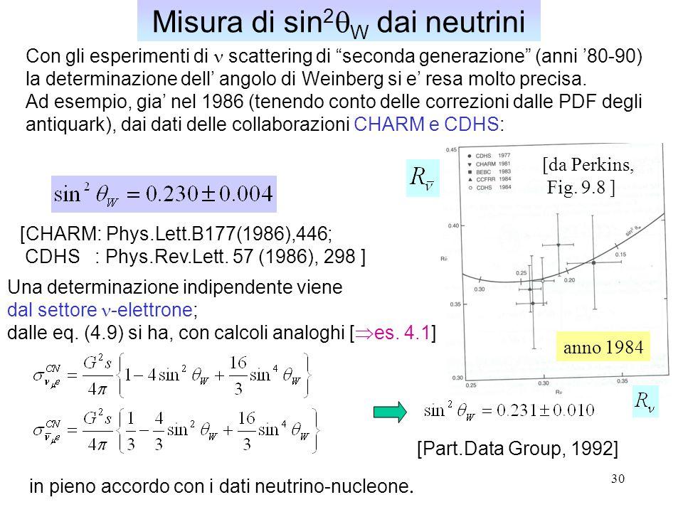 30 Misura di sin 2  W dai neutrini Con gli esperimenti di scattering di seconda generazione (anni '80-90) la determinazione dell' angolo di Weinberg si e' resa molto precisa.