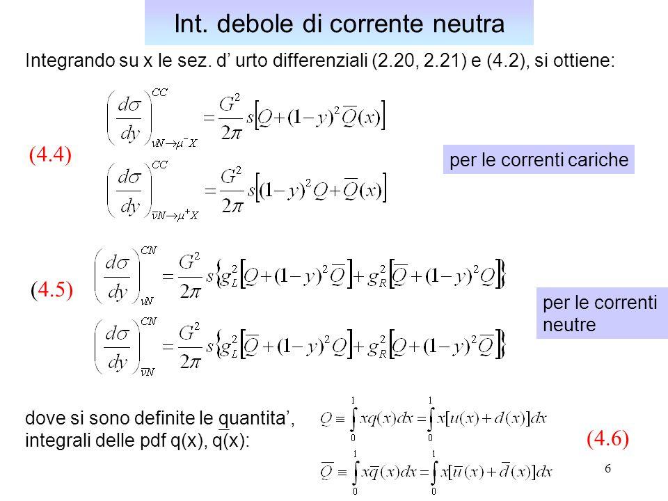 6 Integrando su x le sez. d' urto differenziali (2.20, 2.21) e (4.2), si ottiene: Int. debole di corrente neutra dove si sono definite le quantita', i