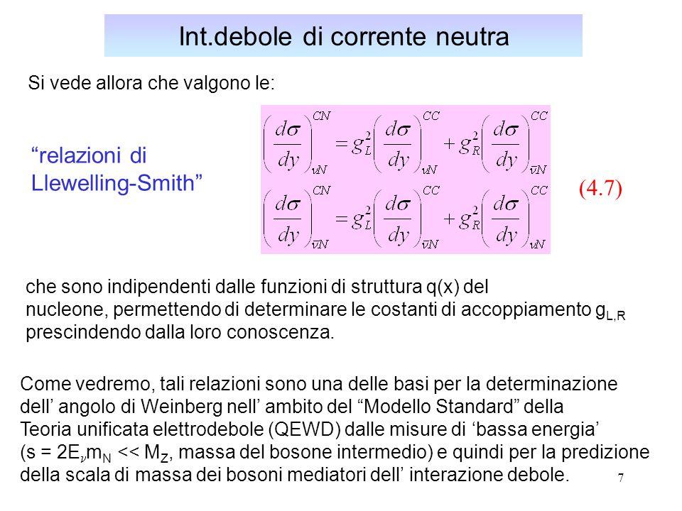 7 Si vede allora che valgono le: Int.debole di corrente neutra che sono indipendenti dalle funzioni di struttura q(x) del nucleone, permettendo di determinare le costanti di accoppiamento g L,R prescindendo dalla loro conoscenza.