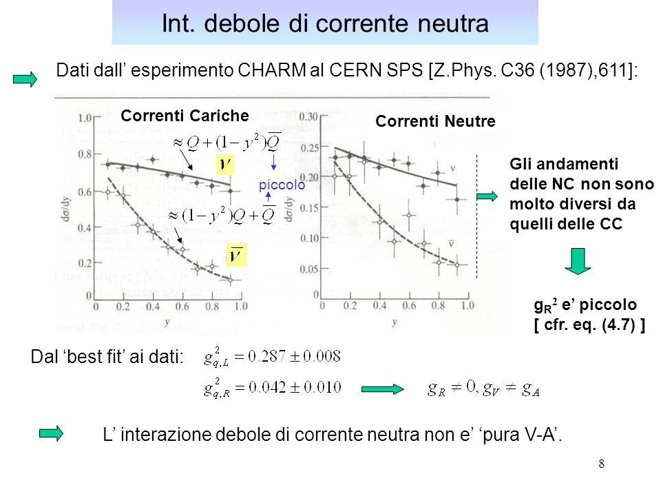 8 Int. debole di corrente neutra Dati dall' esperimento CHARM al CERN SPS [Z.Phys. C36 (1987),611]: Dal 'best fit' ai dati: L' interazione debole di c