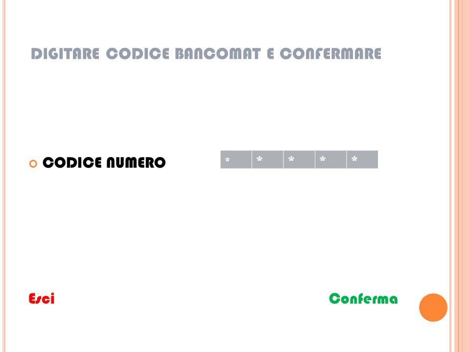 DIGITARE CODICE BANCOMAT E CONFERMARE CODICE NUMERO Esci Conferma * ****
