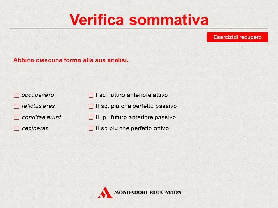 Verifica sommativa Scegli la traduzione corretta della forma vindicaveritis.
