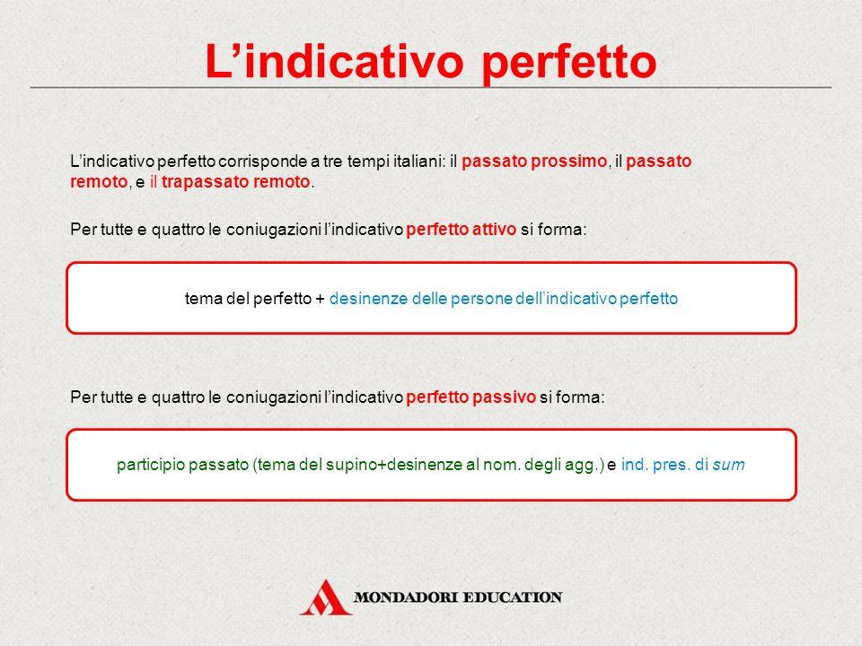 L'indicativo perfetto corrisponde a tre tempi italiani: il passato prossimo, il passato remoto, e il trapassato remoto.