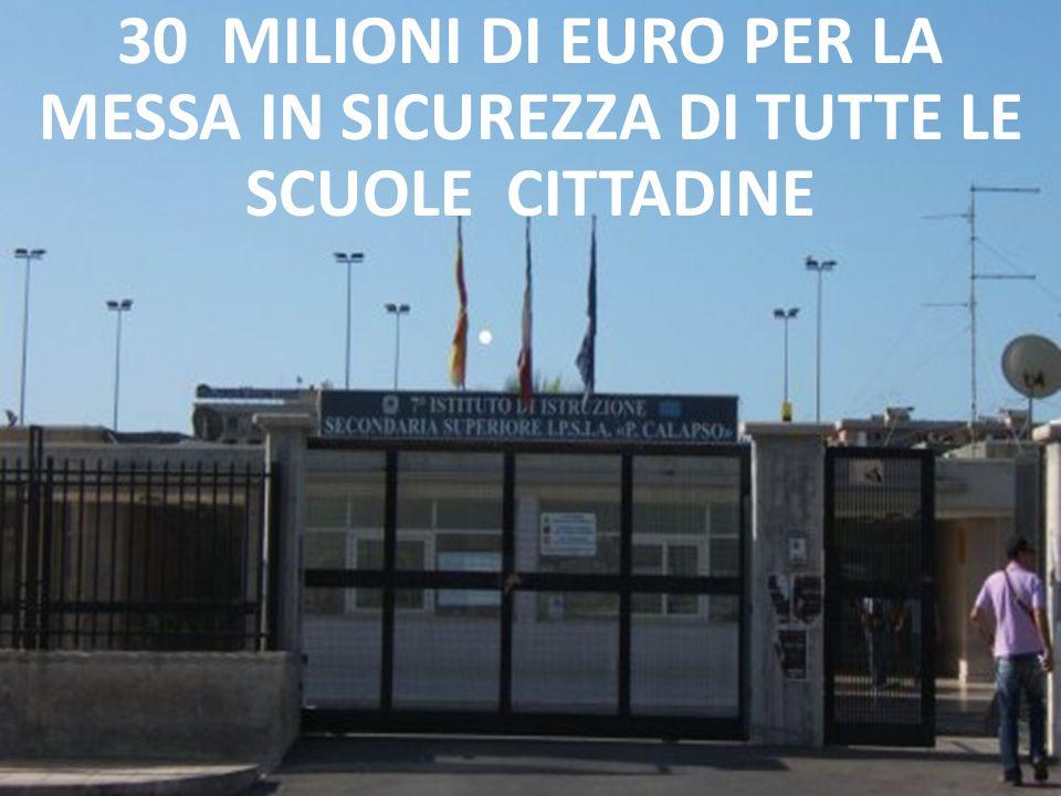 30 MILIONI DI EURO PER LA MESSA IN SICUREZZA DI TUTTE LE SCUOLE CITTADINE
