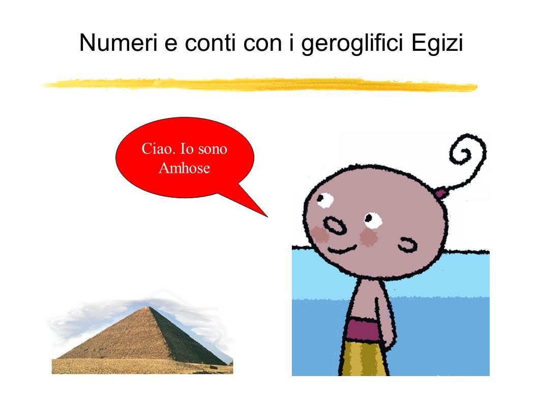 Numeri e conti con i geroglifici Egizi Ciao. Io sono Amhose