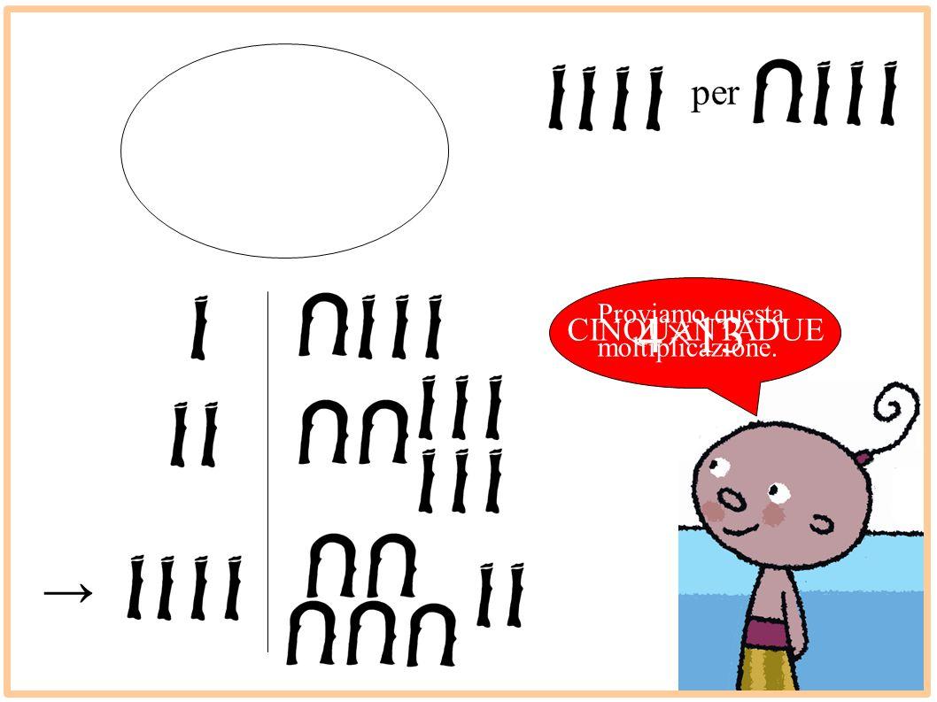 Proviamo questa moltiplicazione. 4×13 CINQUANTADUE per →