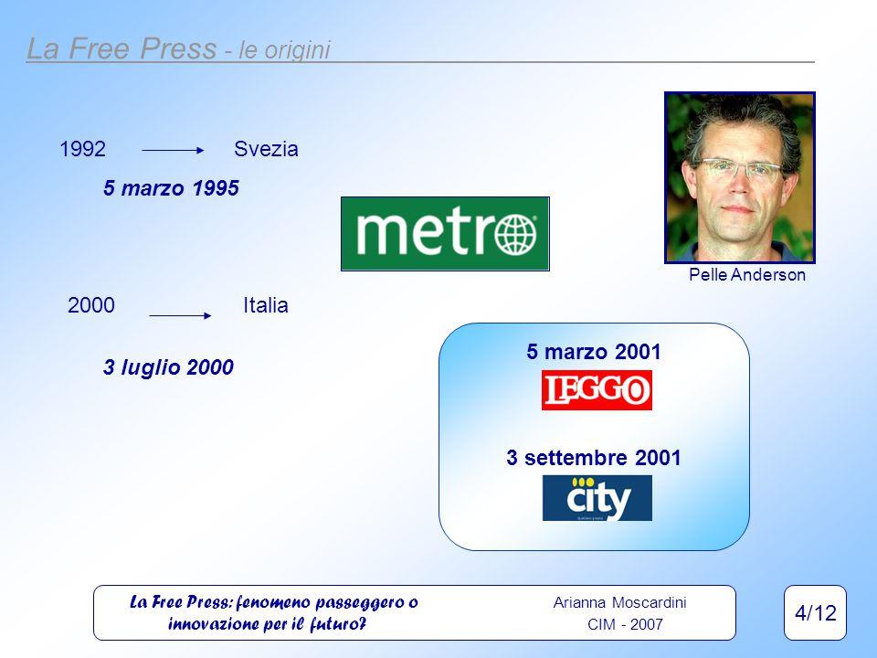 4/12 La Free Press - le origini Pelle Anderson 1992Svezia 5 marzo 1995 2000Italia 3 luglio 2000 5 marzo 2001 3 settembre 2001 La Free Press: fenomeno passeggero o Arianna Moscardini innovazione per il futuro.