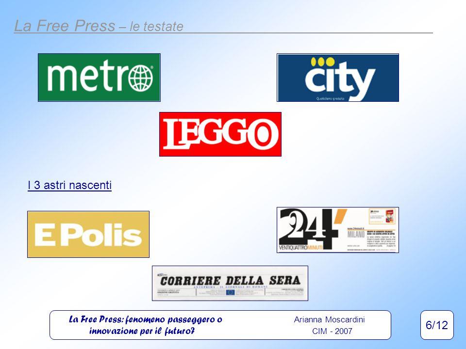 6/12 La Free Press – le testate I 3 astri nascenti La Free Press: fenomeno passeggero o Arianna Moscardini innovazione per il futuro.