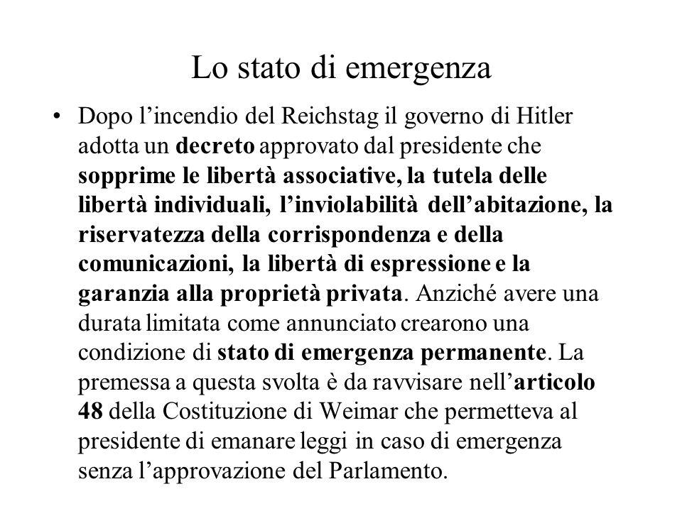 Lo stato di emergenza Dopo l'incendio del Reichstag il governo di Hitler adotta un decreto approvato dal presidente che sopprime le libertà associativ