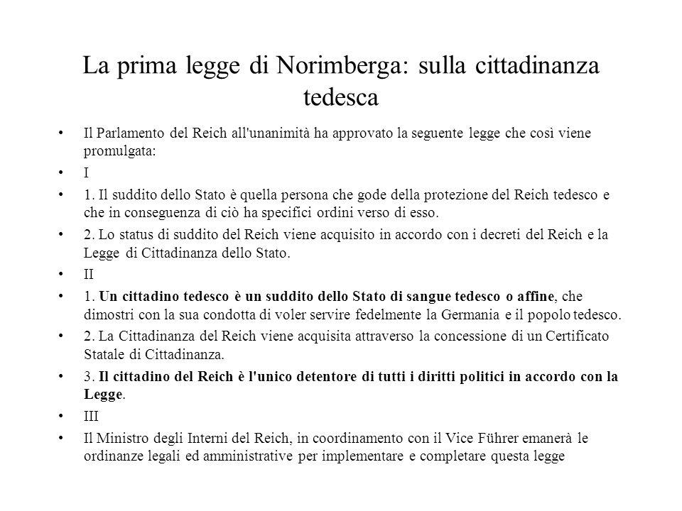 La prima legge di Norimberga: sulla cittadinanza tedesca Il Parlamento del Reich all'unanimità ha approvato la seguente legge che così viene promulgat