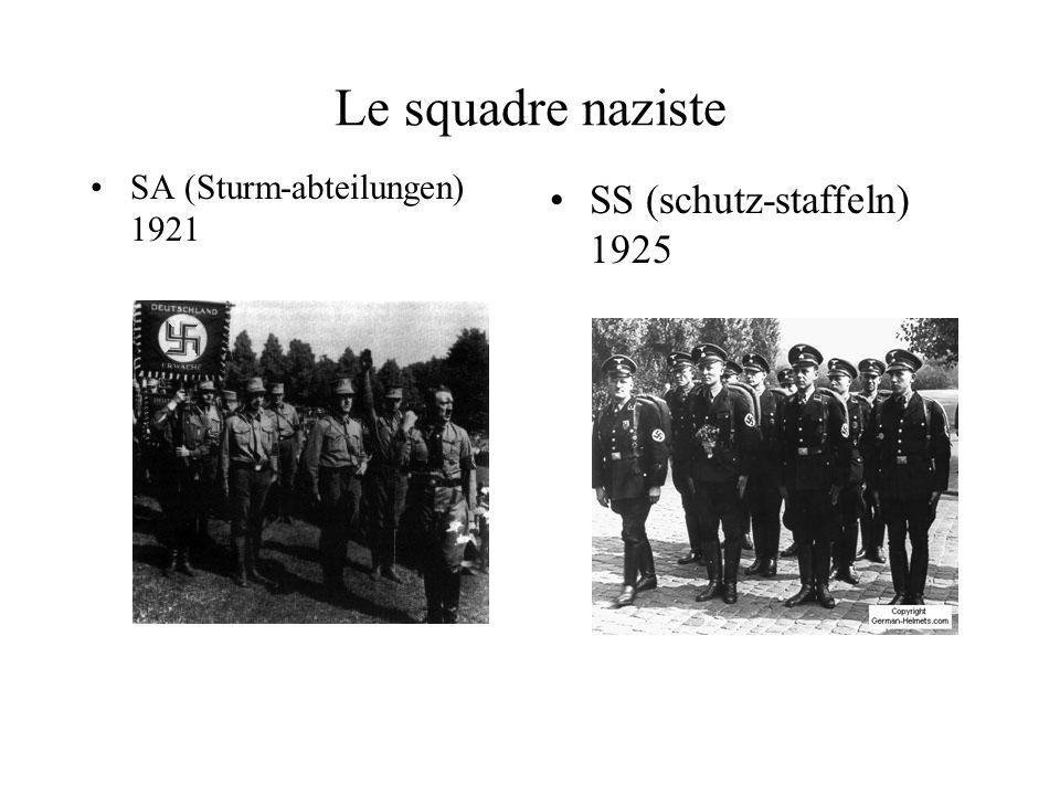 Le squadre naziste SA (Sturm-abteilungen) 1921 SS (schutz-staffeln) 1925
