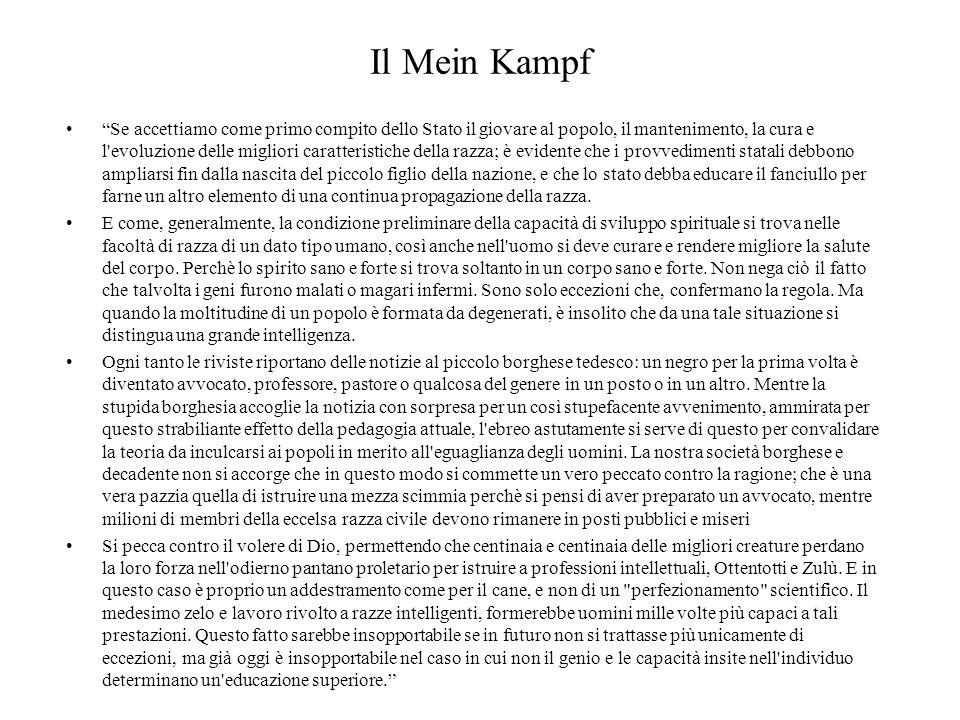 """Il Mein Kampf """"Se accettiamo come primo compito dello Stato il giovare al popolo, il mantenimento, la cura e l'evoluzione delle migliori caratteristic"""