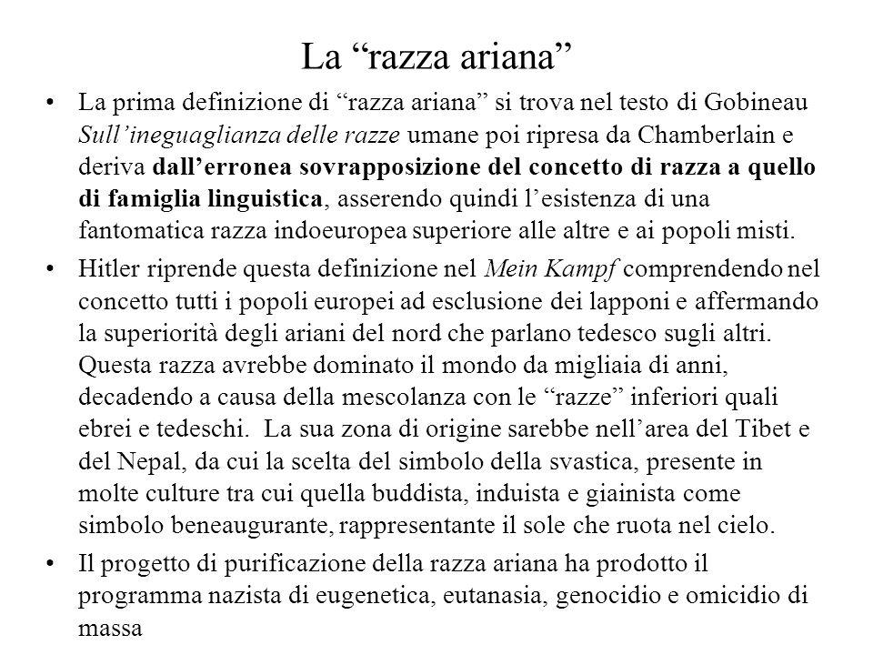 """La """"razza ariana"""" La prima definizione di """"razza ariana"""" si trova nel testo di Gobineau Sull'ineguaglianza delle razze umane poi ripresa da Chamberlai"""