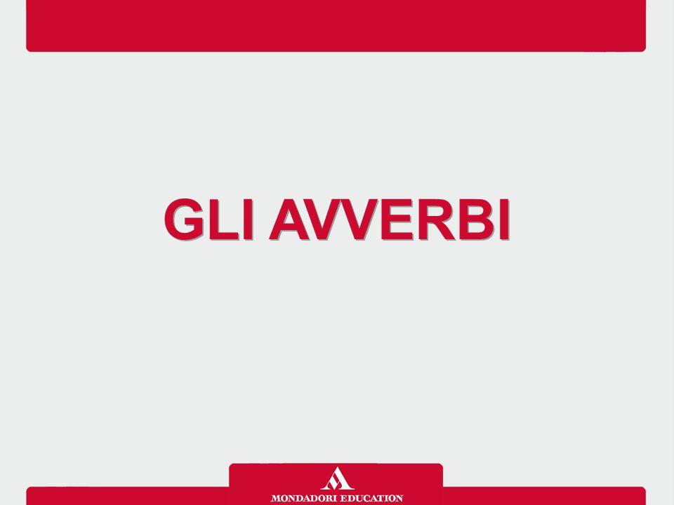 Gli avverbi sono parole che modificano o descrivono verbi, aggettivi o altri avverbi.