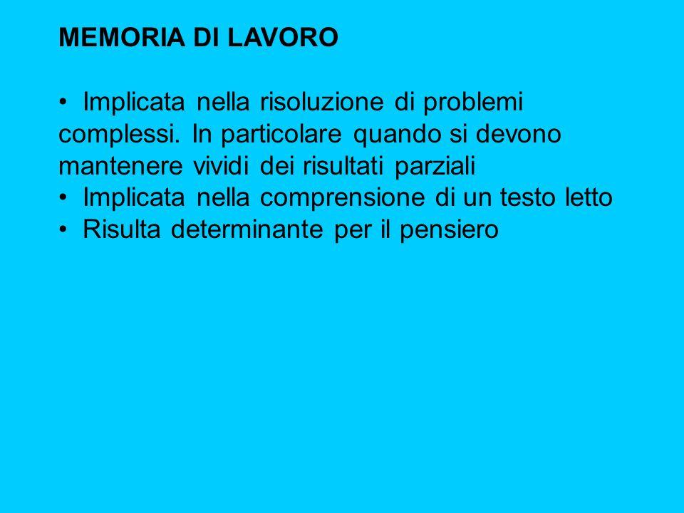 MEMORIA DI LAVORO Implicata nella risoluzione di problemi complessi.