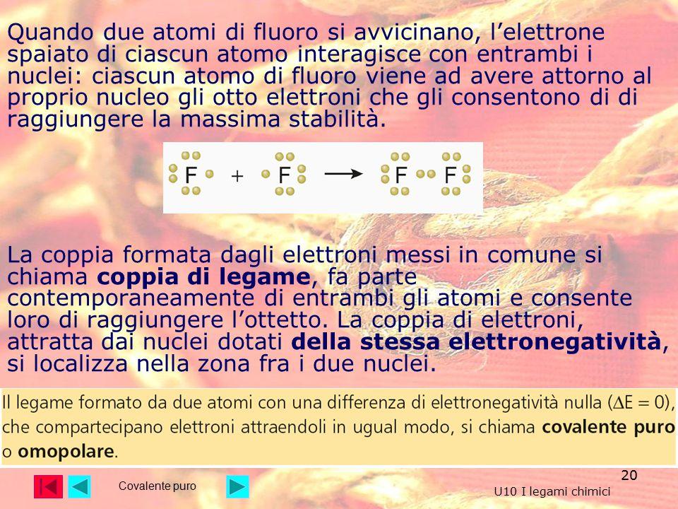 20 Quando due atomi di fluoro si avvicinano, l'elettrone spaiato di ciascun atomo interagisce con entrambi i nuclei: ciascun atomo di fluoro viene ad avere attorno al proprio nucleo gli otto elettroni che gli consentono di di raggiungere la massima stabilità.