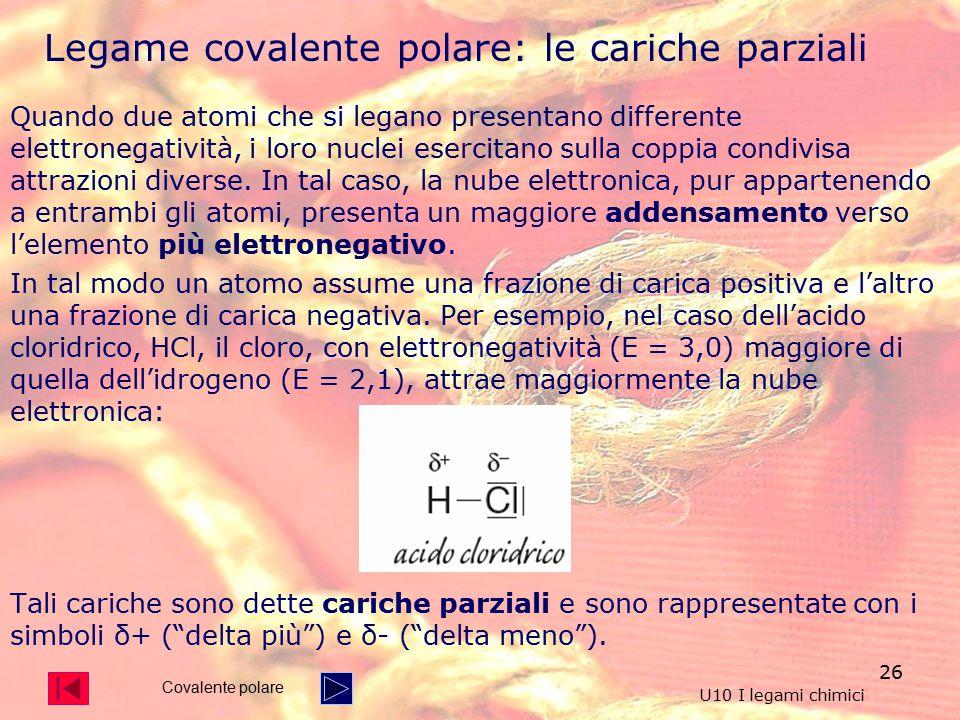 26 Quando due atomi che si legano presentano differente elettronegatività, i loro nuclei esercitano sulla coppia condivisa attrazioni diverse.