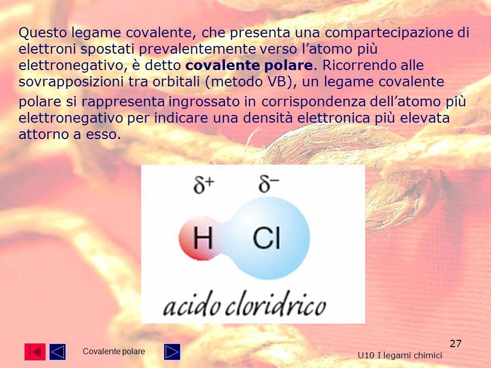 27 Questo legame covalente, che presenta una compartecipazione di elettroni spostati prevalentemente verso l'atomo più elettronegativo, è detto covalente polare.