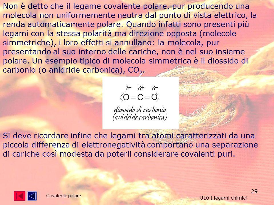 29 Non è detto che il legame covalente polare, pur producendo una molecola non uniformemente neutra dal punto di vista elettrico, la renda automaticamente polare.