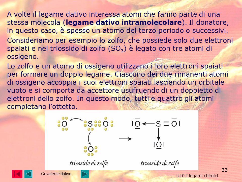 33 A volte il legame dativo interessa atomi che fanno parte di una stessa molecola (legame dativo intramolecolare).