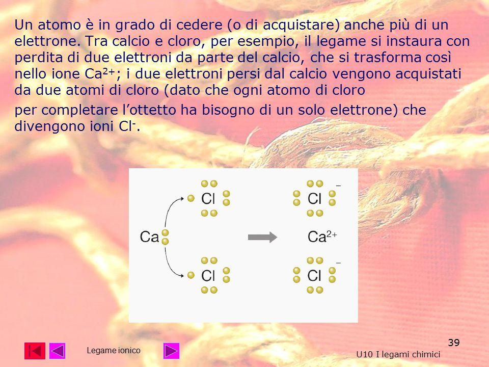 39 Un atomo è in grado di cedere (o di acquistare) anche più di un elettrone.
