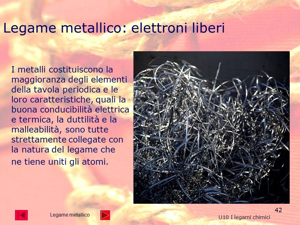 42 I metalli costituiscono la maggioranza degli elementi della tavola periodica e le loro caratteristiche, quali la buona conducibilità elettrica e termica, la duttilità e la malleabilità, sono tutte strettamente collegate con la natura del legame che ne tiene uniti gli atomi.