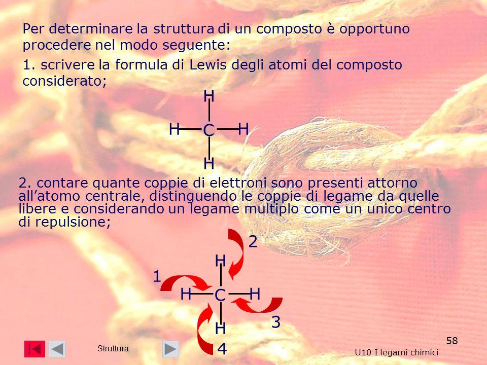 58 Per determinare la struttura di un composto è opportuno procedere nel modo seguente: 1.