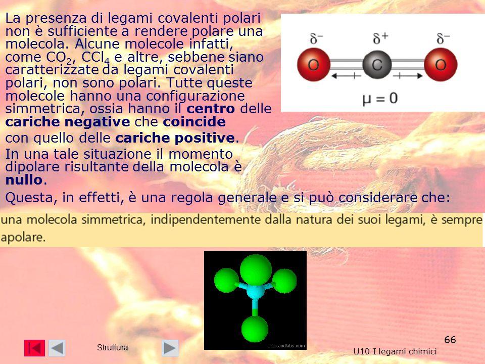 66 La presenza di legami covalenti polari non è sufficiente a rendere polare una molecola.