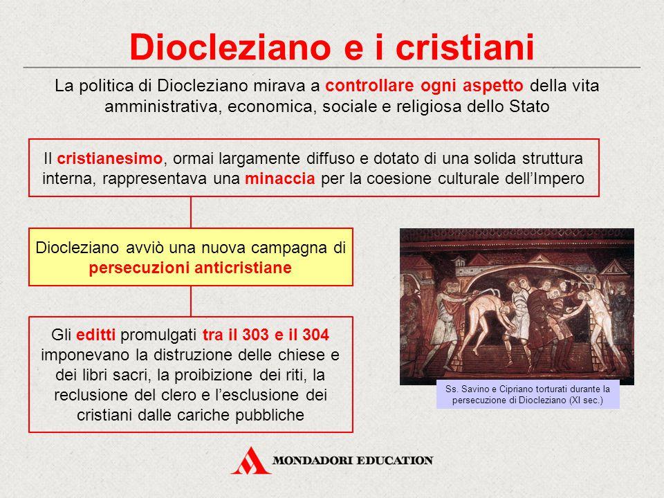 Diocleziano e i cristiani La politica di Diocleziano mirava a controllare ogni aspetto della vita amministrativa, economica, sociale e religiosa dello