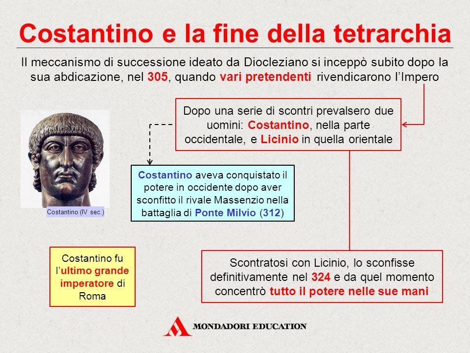 Costantino e la fine della tetrarchia Il meccanismo di successione ideato da Diocleziano si inceppò subito dopo la sua abdicazione, nel 305, quando va
