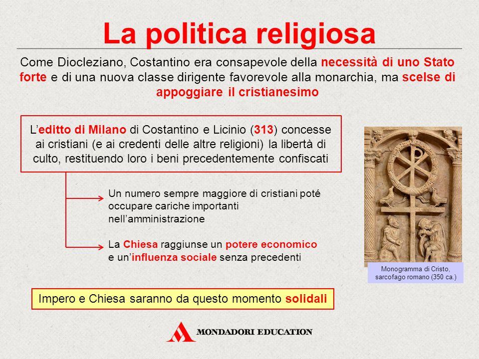 La politica religiosa Come Diocleziano, Costantino era consapevole della necessità di uno Stato forte e di una nuova classe dirigente favorevole alla