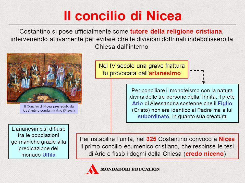Il concilio di Nicea Costantino si pose ufficialmente come tutore della religione cristiana, intervenendo attivamente per evitare che le divisioni dot