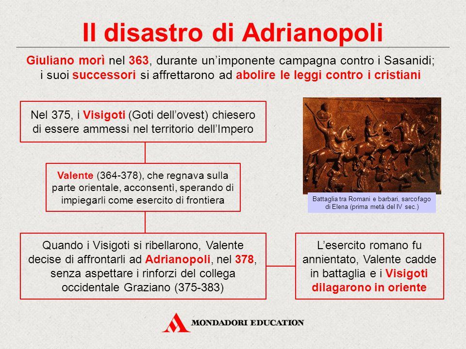 Il disastro di Adrianopoli Giuliano morì nel 363, durante un'imponente campagna contro i Sasanidi; i suoi successori si affrettarono ad abolire le leg