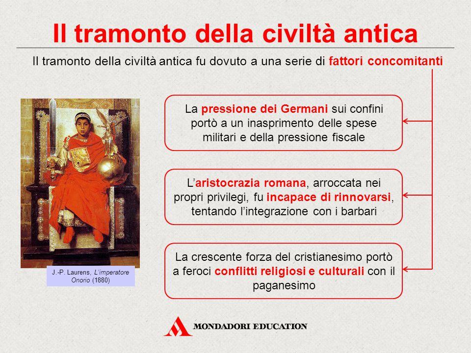 Il tramonto della civiltà antica Il tramonto della civiltà antica fu dovuto a una serie di fattori concomitanti L'aristocrazia romana, arroccata nei p