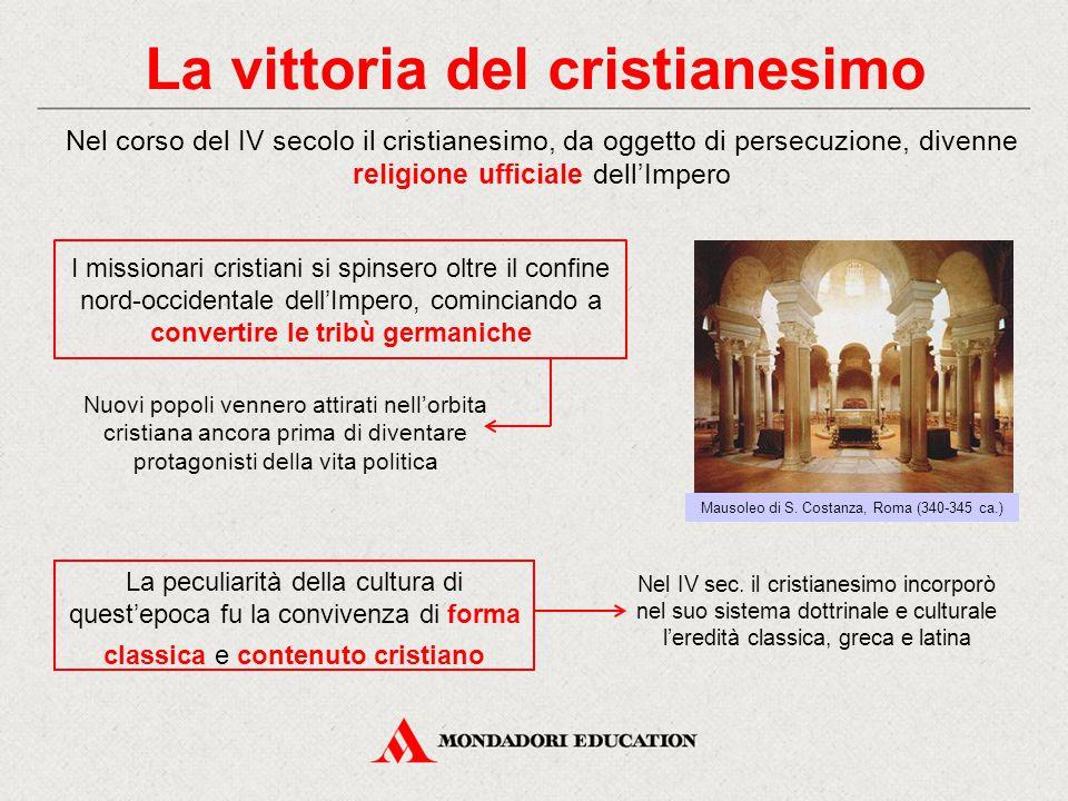 La vittoria del cristianesimo Nel corso del IV secolo il cristianesimo, da oggetto di persecuzione, divenne religione ufficiale dell'Impero Nel IV sec