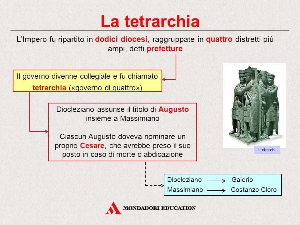 La tetrarchia Per ragioni militari, le quattro capitali furono poste nelle vicinanze dei confini delle quattro regioni: Milano, Treviri, Sirmio e Nicomedia Ciascuno dei quattro governava una prefettura, ma l'autorità suprema spettava a Diocleziano