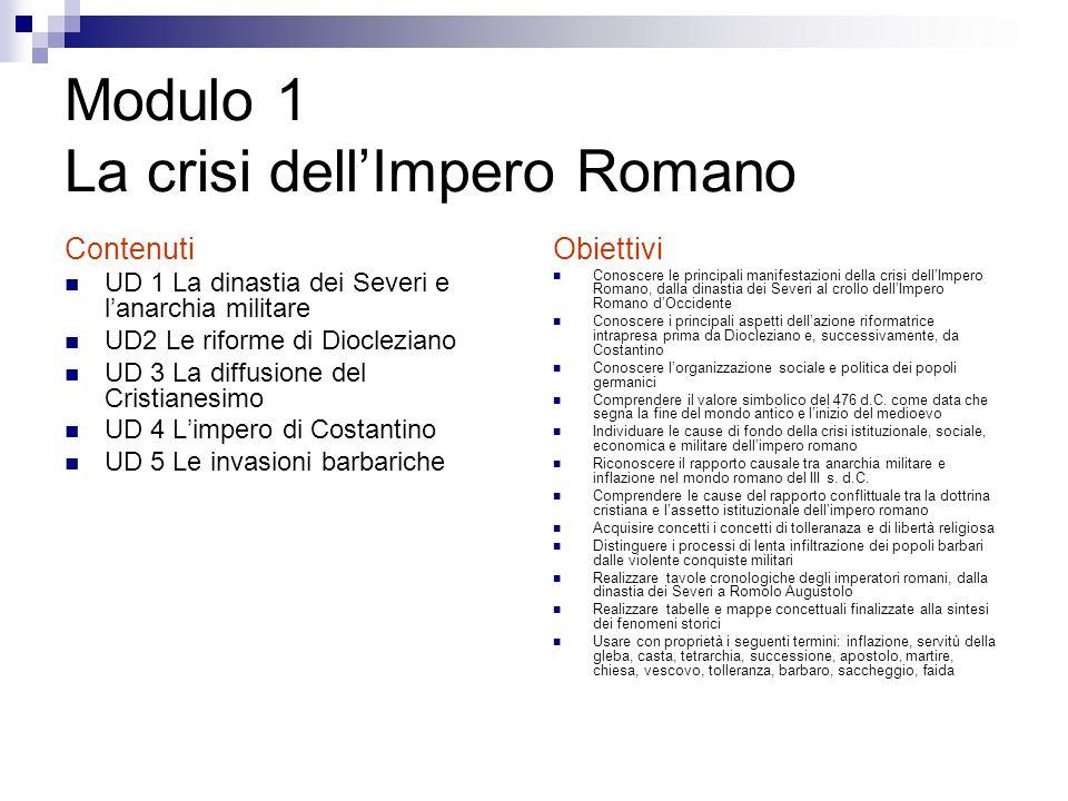 Modulo 1 La crisi dell'Impero Romano Contenuti UD 1 La dinastia dei Severi e l'anarchia militare UD2 Le riforme di Diocleziano UD 3 La diffusione del