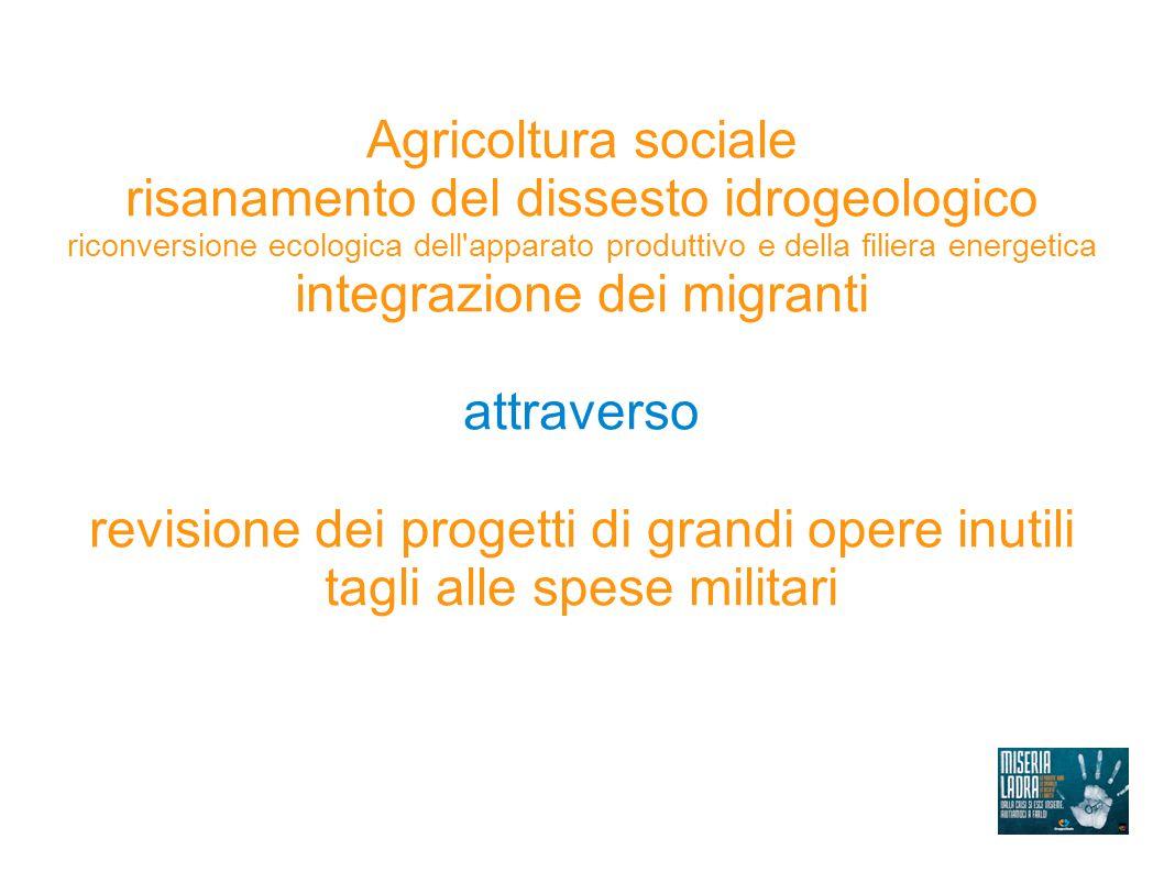 Agricoltura sociale risanamento del dissesto idrogeologico riconversione ecologica dell'apparato produttivo e della filiera energetica integrazione de
