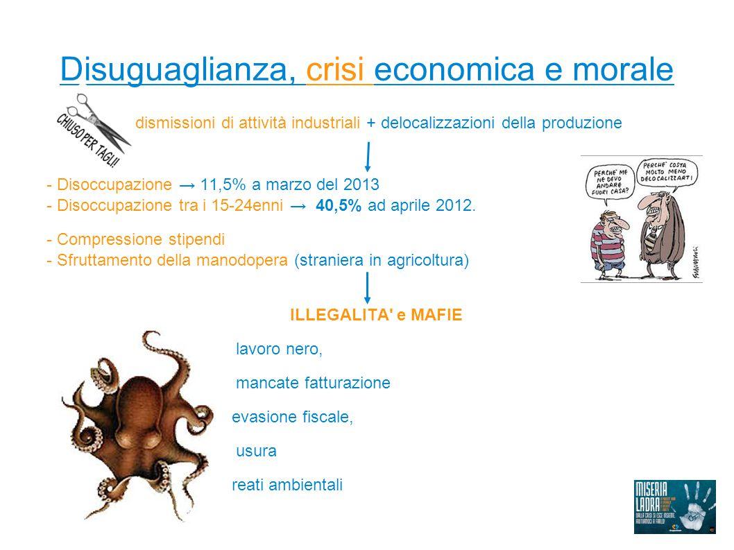 Disuguaglianza, crisi economica e morale dismissioni di attività industriali + delocalizzazioni della produzione - Disoccupazione → 11,5% a marzo del 2013 - Disoccupazione tra i 15-24enni → 40,5% ad aprile 2012.