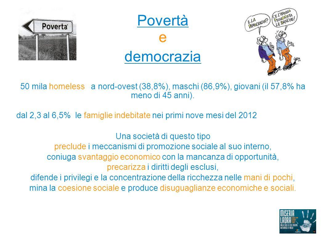 Povertà e democrazia 50 mila homeless a nord-ovest (38,8%), maschi (86,9%), giovani (il 57,8% ha meno di 45 anni). dal 2,3 al 6,5% le famiglie indebit