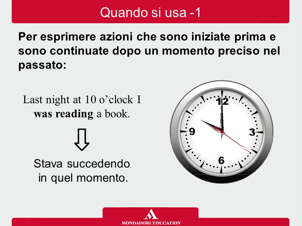 Last night at 10 o'clock I was reading a book.⇩ Stava succedendo in quel momento.