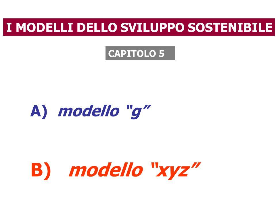 I MODELLI DELLO SVILUPPO SOSTENIBILE A) modello g B) modello xyz CAPITOLO 5