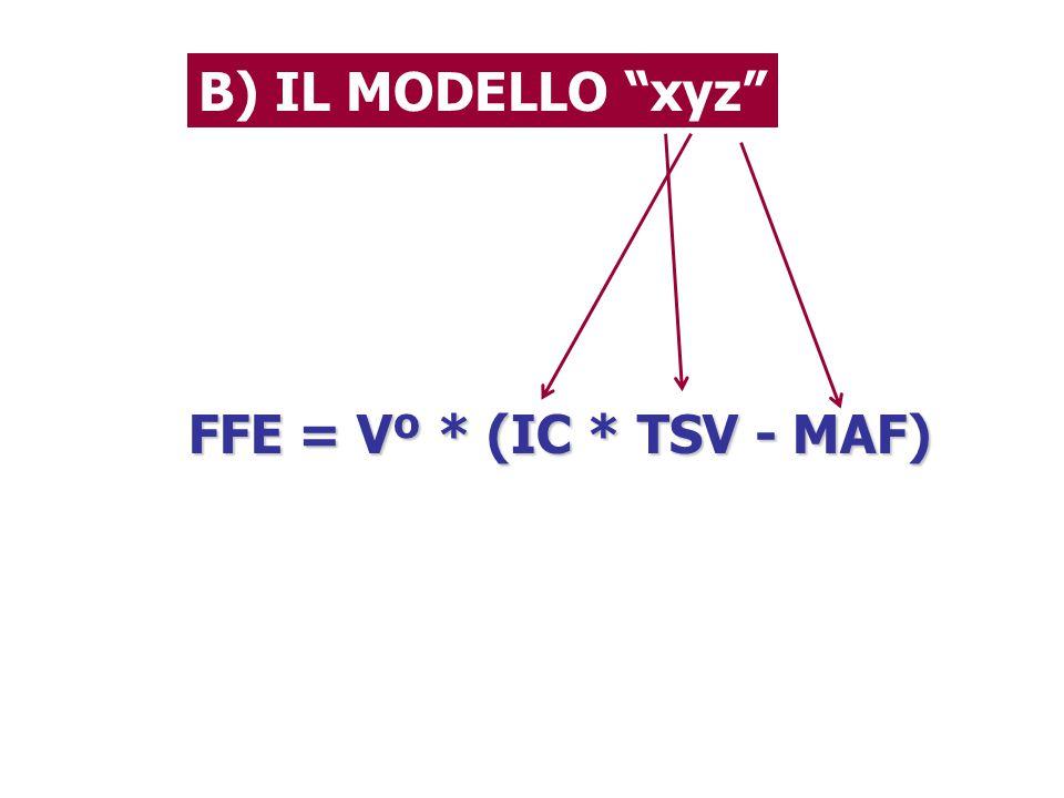 FFE = Vº * (IC * TSV - MAF) B) IL MODELLO xyz