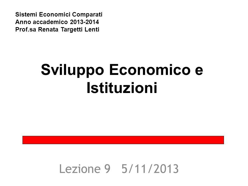 Sviluppo Economico e Istituzioni Lezione 9 5/11/2013 Sistemi Economici Comparati Anno accademico 2013-2014 Prof.sa Renata Targetti Lenti