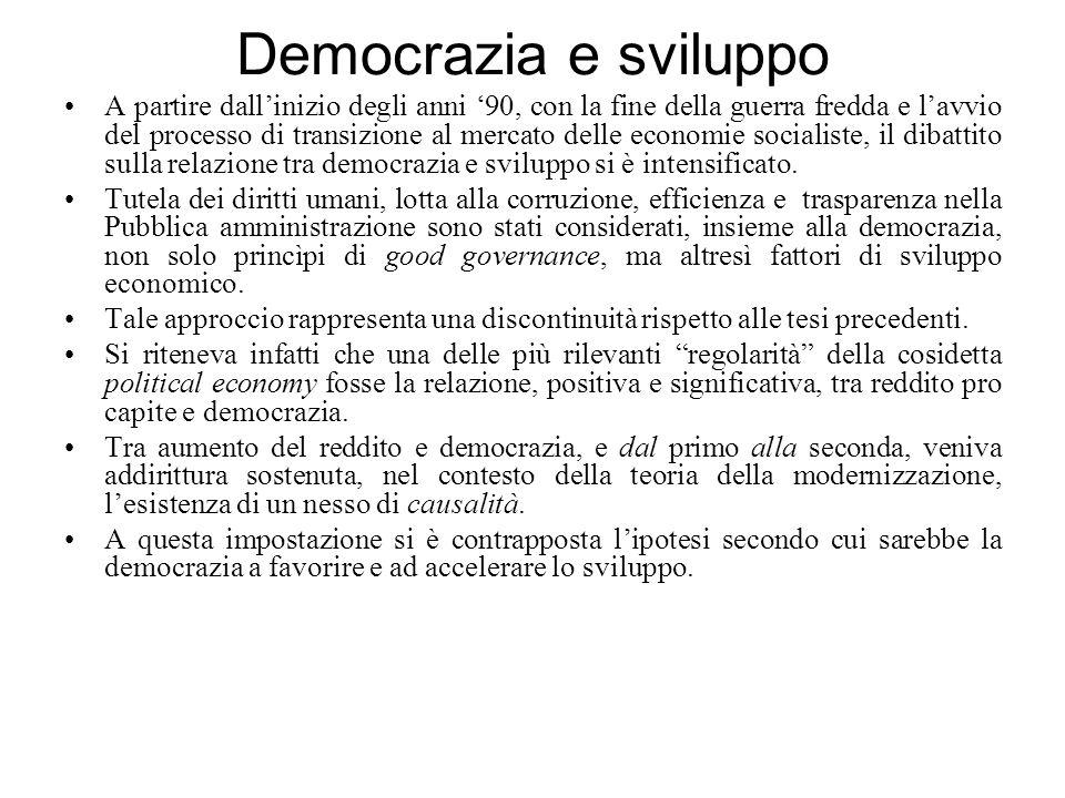 Democrazia e sviluppo A partire dall'inizio degli anni '90, con la fine della guerra fredda e l'avvio del processo di transizione al mercato delle economie socialiste, il dibattito sulla relazione tra democrazia e sviluppo si è intensificato.