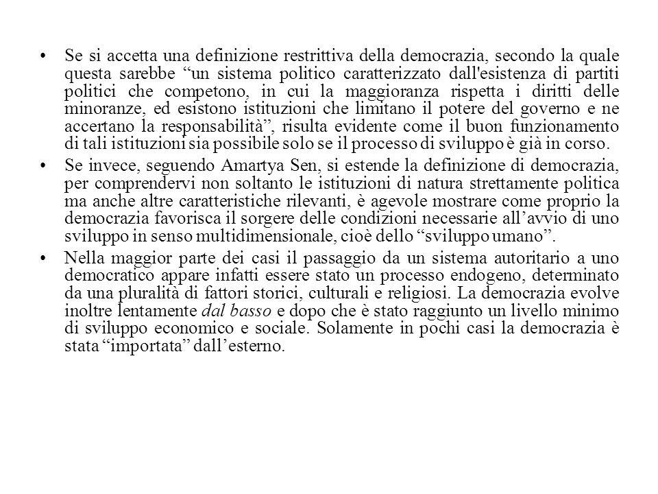 """Se si accetta una definizione restrittiva della democrazia, secondo la quale questa sarebbe """"un sistema politico caratterizzato dall'esistenza di part"""