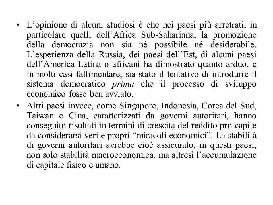 L'opinione di alcuni studiosi è che nei paesi più arretrati, in particolare quelli dell'Africa Sub-Sahariana, la promozione della democrazia non sia n