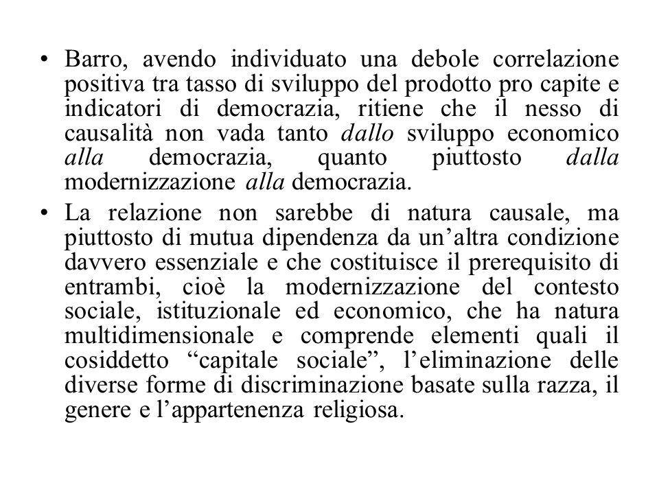 Barro, avendo individuato una debole correlazione positiva tra tasso di sviluppo del prodotto pro capite e indicatori di democrazia, ritiene che il nesso di causalità non vada tanto dallo sviluppo economico alla democrazia, quanto piuttosto dalla modernizzazione alla democrazia.