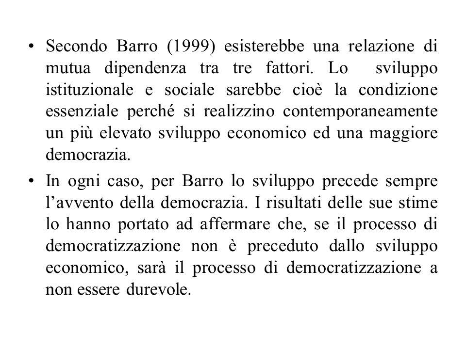 Secondo Barro (1999) esisterebbe una relazione di mutua dipendenza tra tre fattori. Lo sviluppo istituzionale e sociale sarebbe cioè la condizione ess